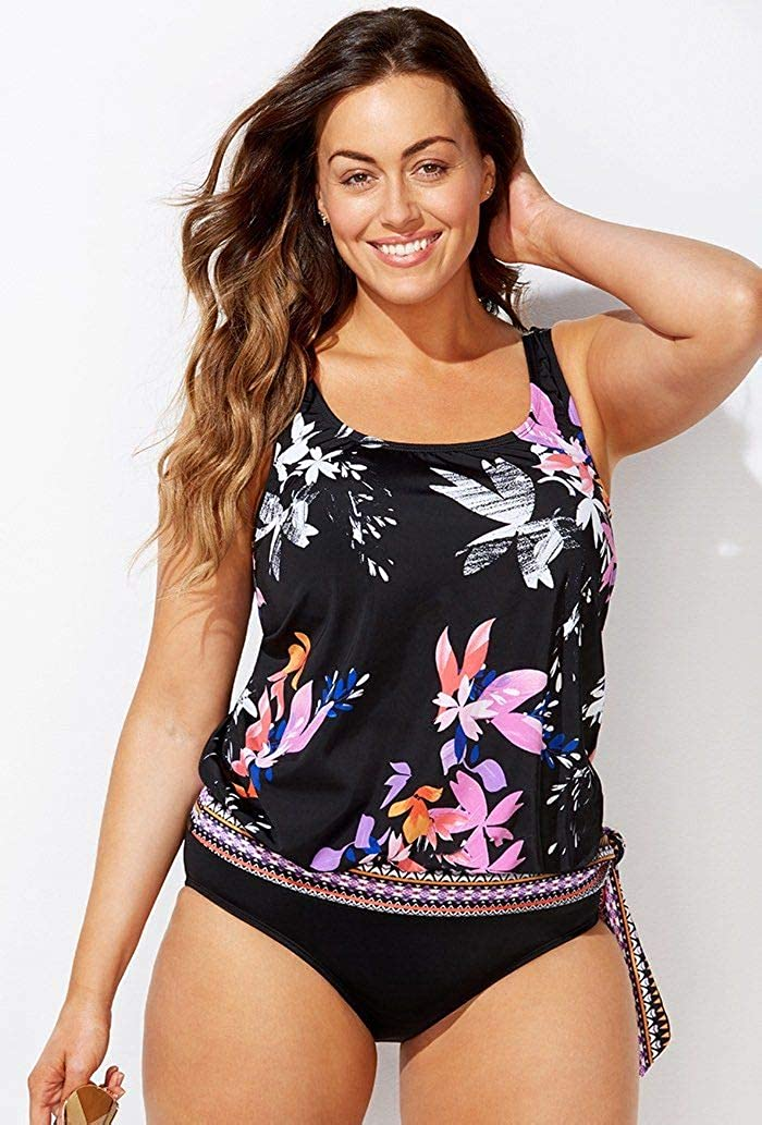 Swimsuits for All Womens Plus Size Floral Blouson Tankini Top