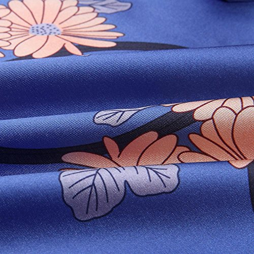 Blue Tunic Long Sale Lady Dress Floral Mini Tops Evening Flowy Chanyuhui Silk Sleeve On Women Party Satin Dresses T5URq