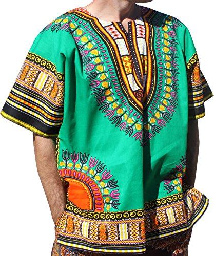 RaanPahMuang Brand Unisex Bright Colour Cotton Africa Dashiki Shirt Plain Front, XX-Large, Pakistan - Of Pakistan Brands