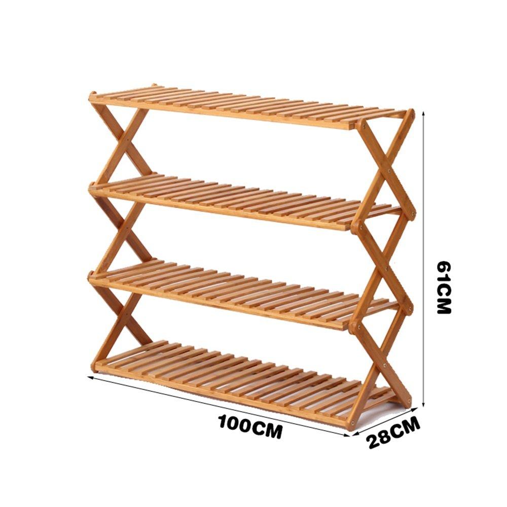 YNN 4層靴ラックシンプルな多層靴多機能防塵木の折り畳み式家庭用靴ラック竹ラック (サイズ さいず : 50*61cm) B07DXGFBC9 50*61cm 50*61cm