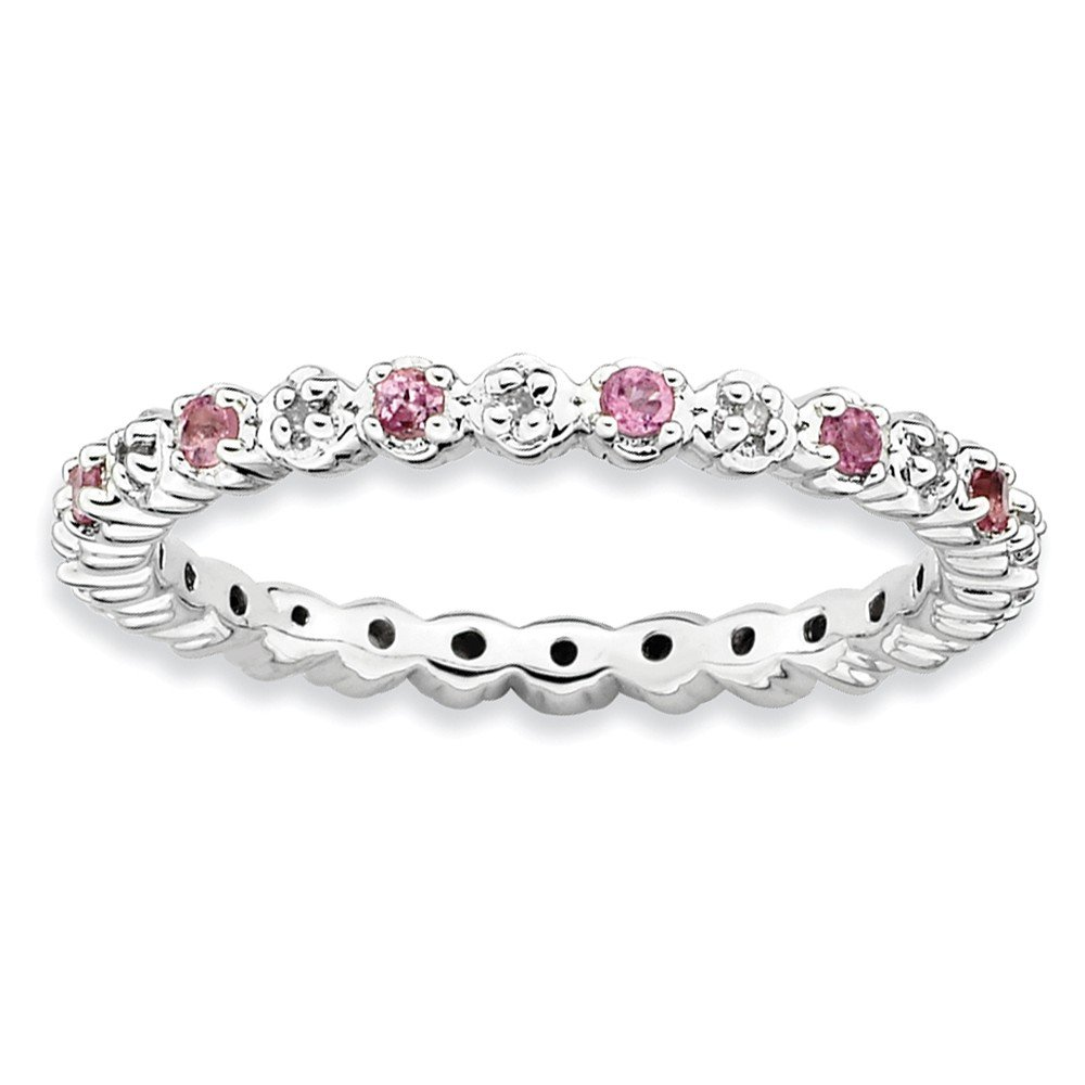 Sterling Silver Stackable Expressions Pink Tourm. & Diamond Ring Size 8