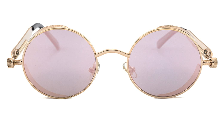 MaxAike1 Unisex Classic Steampunk Goggles Vintage Hippie Retro Punk Metal Round Circle Frame Sunglasses Golden Frame Gray Lens