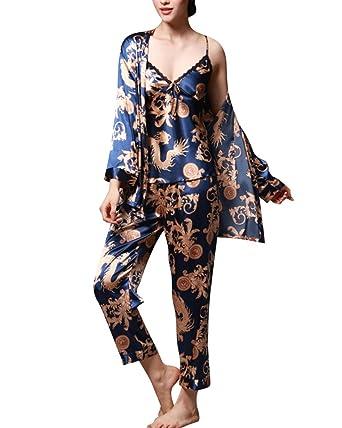 281f5a524ad11 Ensemble Pyjama Femme Manches Longues Pyjama de Soie Femme de Confort Trois- pièces: Amazon.fr: Vêtements et accessoires