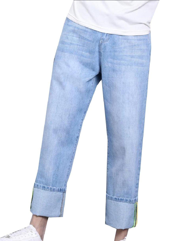 XiaoShop Men's Plus-Size Fine Cotton Straight-Fit Fashion Washed Hiphop Jeans Light Blue 32