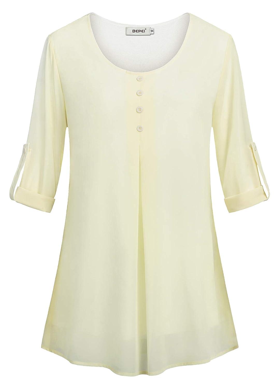 BEPEI Womens Roll-up Long Sleeve Shirts Layered Round Neck Chiffon Blouse Tops