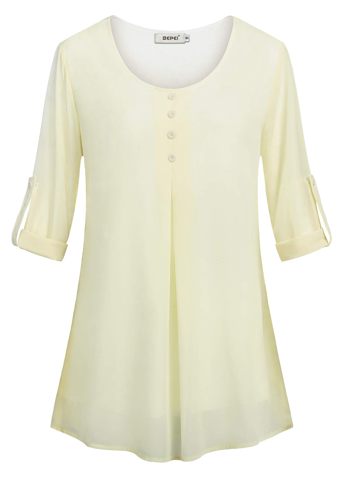 BEPEI Chiffon Blouses for Women,Juniors Long Sleeve 3/4 Pleated Front Layering Swing Tunic Tank Tops Cute Scoop Neck Solid Color Basic Button-up Tee Shirts for Girls Relaxed Fit Dressy Blouses Beige M