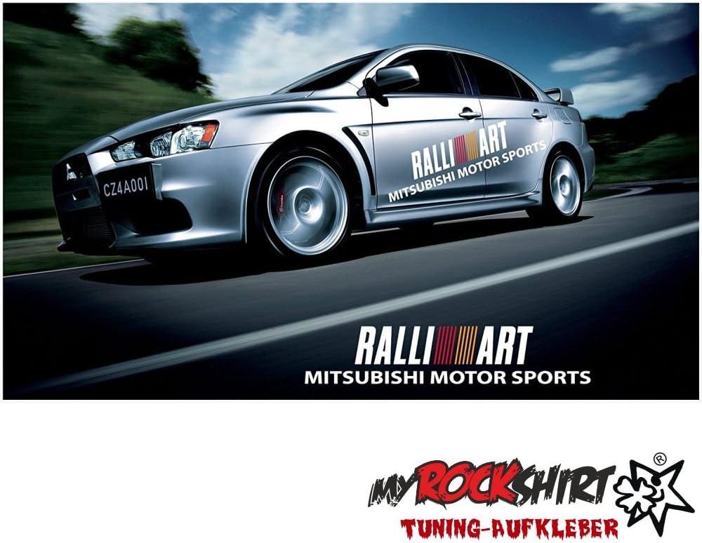 Mitsubishi Rallye Art 2x 140cm Aufkleber Tuning Scheibe Lack TYP-MRS15 ` Bonus Testaufkleber Estrellina-Gl/ückstern /® waschanlagenfest,Profi-Qualit/ät Montageanleitung von myrockshirt