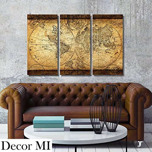Decor MI Vintage World Map Canvas Wall Art Prints Stretched Framed Ready to Hang Artwork Wall Decor for Living Room Office Decoration 16''x32 3pcs (Artwork Wall)