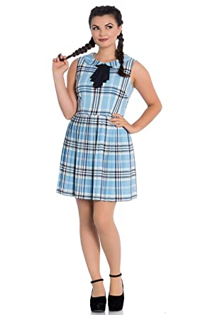 99410ca75ac44c Hell Bunny Aberdeen Retro Check Mini Dress - Blue (XL) at Amazon ...