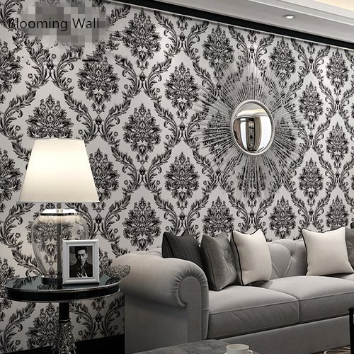 Blooming Wall Vintage Vinyl Black Damasks Wallpaper, Priced in Double Rolls - Damask Vinyl Wallpaper