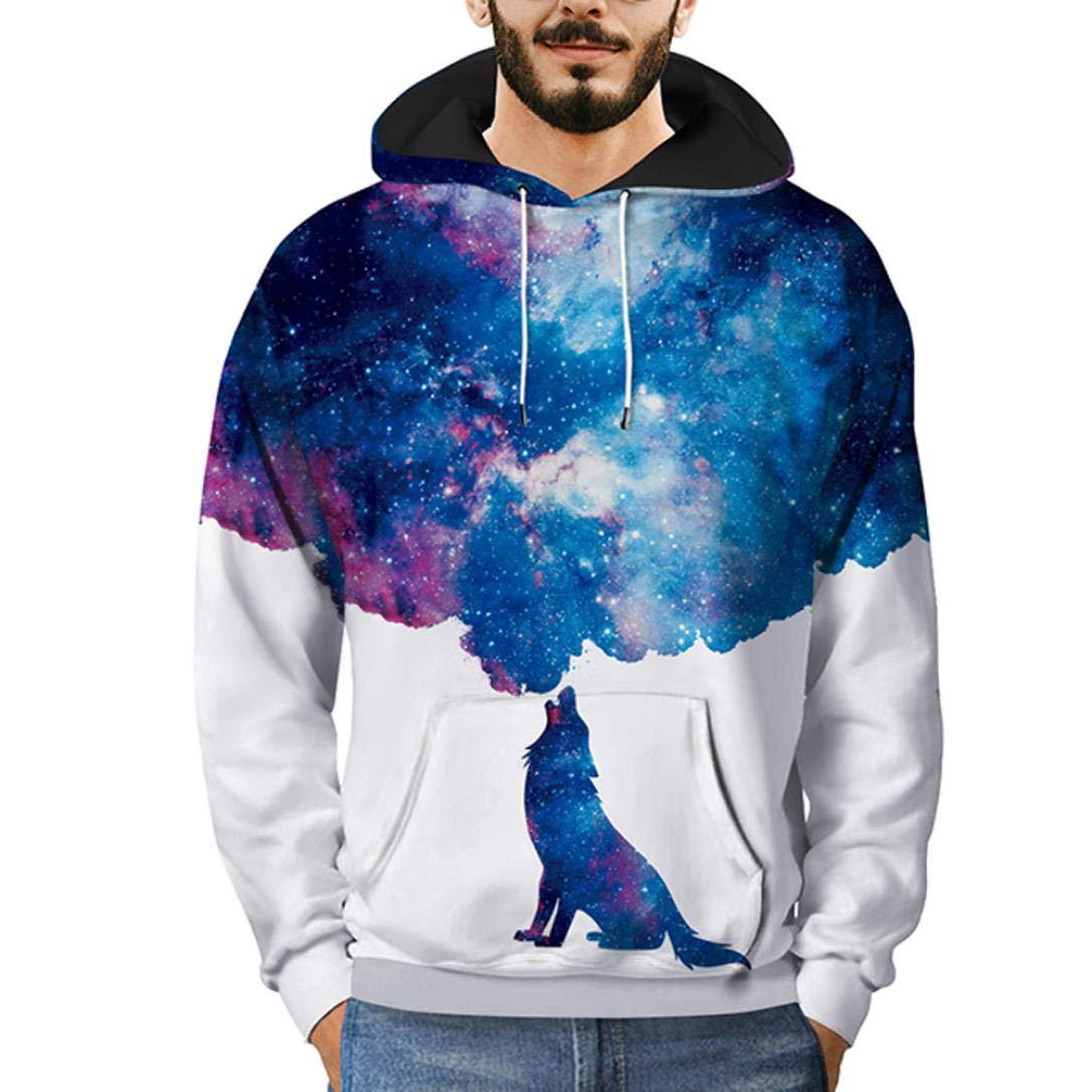Amazon.com: Easytoy Mens Digital Print Hoodied Sweatshirt Lightweight Long Sleeve Hoodies Top Front Kanga Pocket: Sports & Outdoors