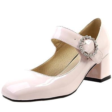 AIYOUMEI Damen Blockabsatz Lack Pumps Niedriger Absatz Schuhe mit Strasssteine 8wHVKSUcq