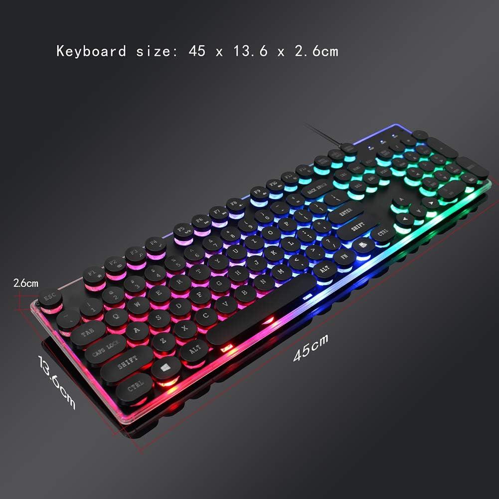 Notebook Laptop PC DZ-YJQ Gaming Keyboard,Wired LED Backlit Keyboard,Round Compact 104 Keys Keyboard,for Desktop