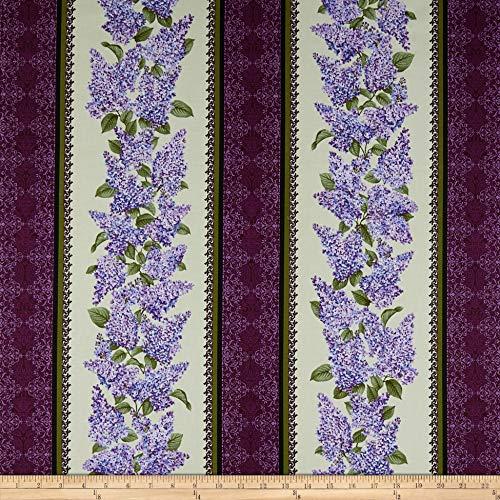 - Benartex Lilacs in Bloom Stripe Sage, Fabric by the Yard