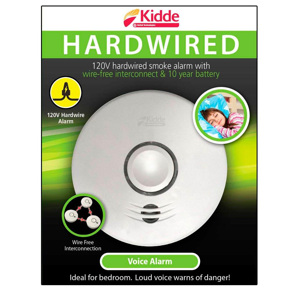 120-Volt Hardwired Voice Warning Smoke Alarm with Wire-Free ...