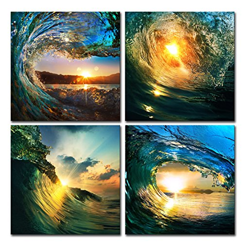 Natural art - Sunrise in Sea Wave Art, Ocean View Painting, Print on Canvas, Wall Decoration, Wrapped with Wooden Frame, Easy to Hang, 4 pieces combination of one set (12×12in×4pcs)
