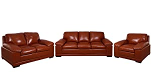 Zikra'S Brown Sal Wood Caramel Color 6 Seater Sofa Set For Living Room(3-2-1)