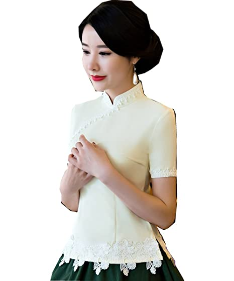 Shanghai Story Short Sleeve Lace Cheongsam Top Qipao Shirt Chinese