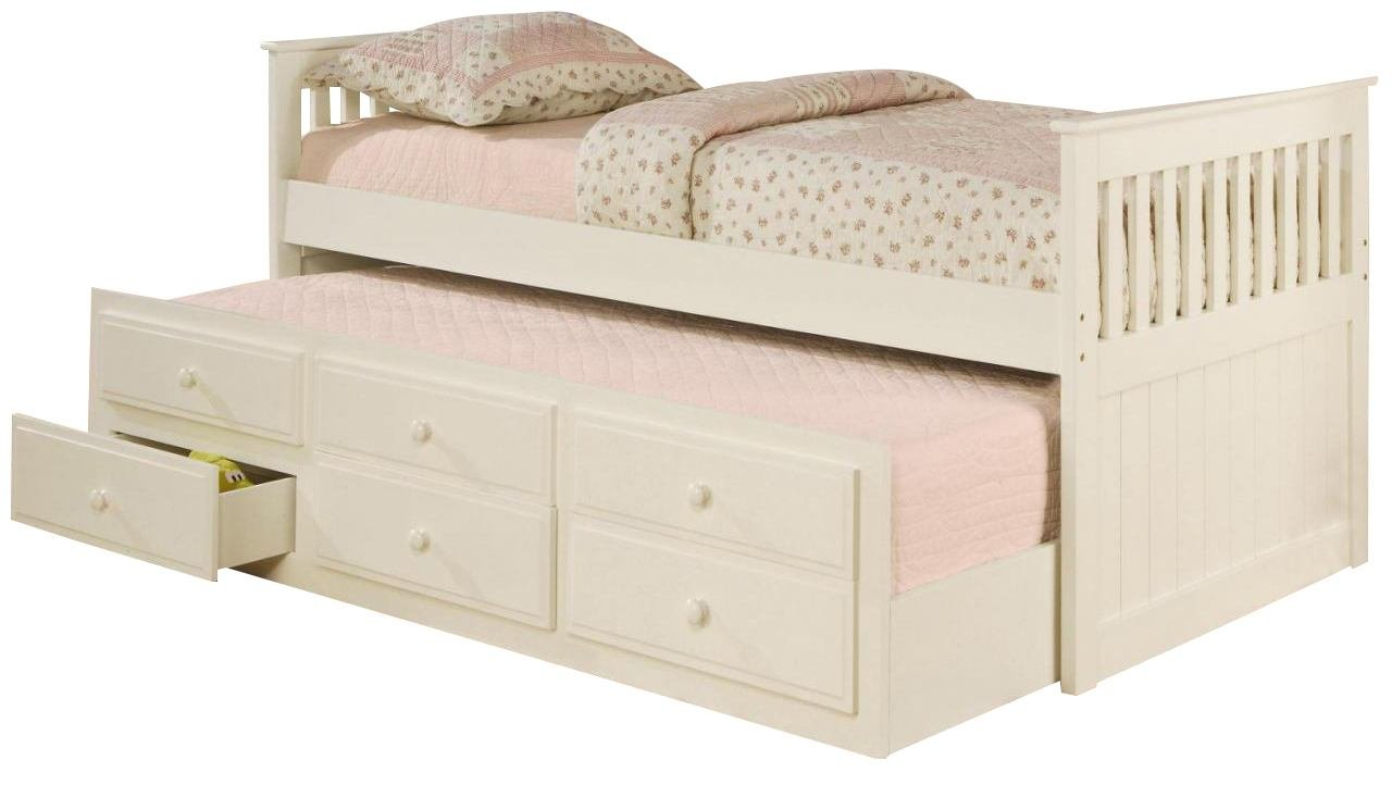 La Salle Twin Captain s Bed with Trundle and Storage Drawers White