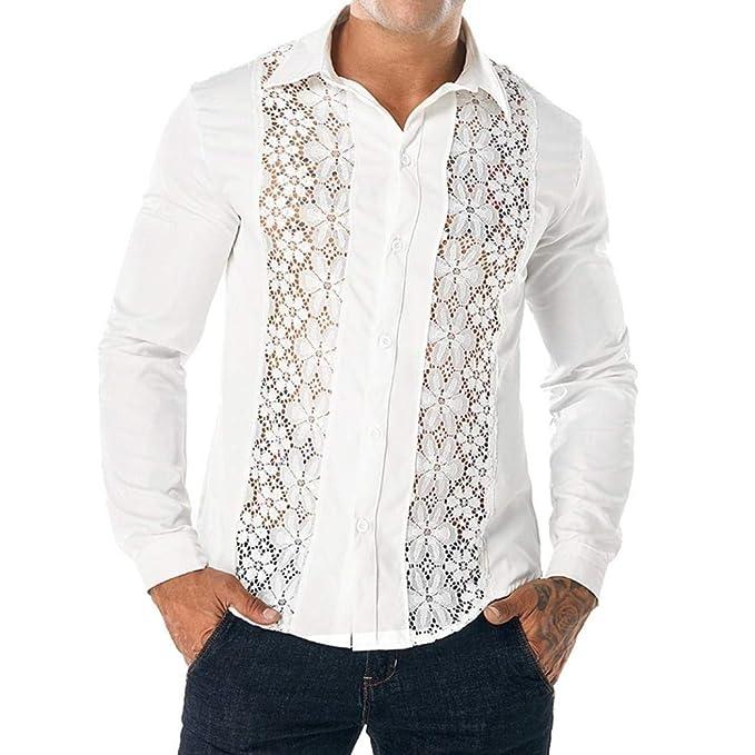 Yvelands Camisas de Encaje Casual Moda Guapo de los Hombres Discoteca de Encaje Completo Camisa de