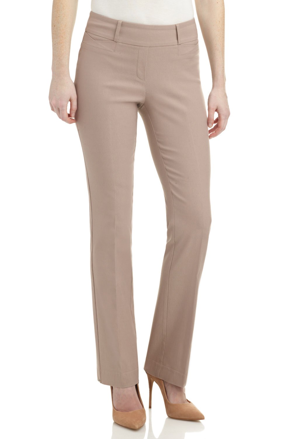 Rekucci Women's Ease in to Comfort Fit Barely Bootcut Stretch Pants (10SHORT,Khaki)