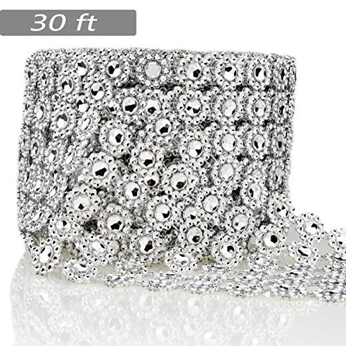 Learn More About Bling Rhinestone Diamond Flower Shape Mesh Ribbon Wrap,Storystore Silver Acrylic Bl...