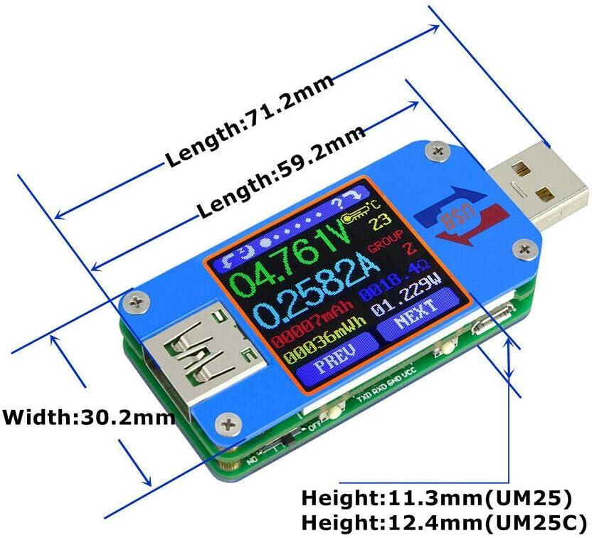testeur de puissance /écran LCD couleur de 1,44 pouces. Supertool Testeur USB moniteur de courant et de tension avec carte Bluetooth multim/ètre num/érique