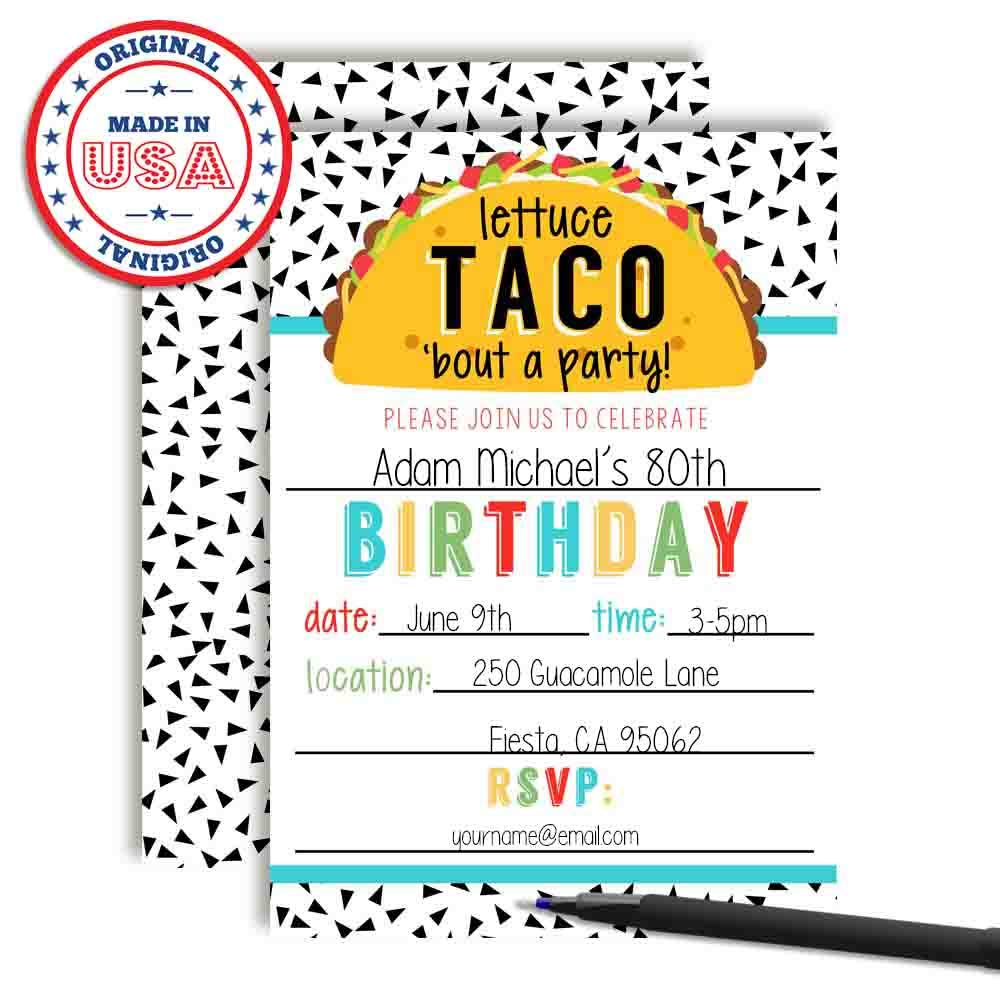 Lettuce Taco Bout a Party Pun Filled Fiesta Birthday Party Invitations 20 5x7 Fill in Cards with Twenty Envelopes by AmandaCreation 20 5x7 Fill in Cards with Twenty Envelopes by AmandaCreation Amanda Creation