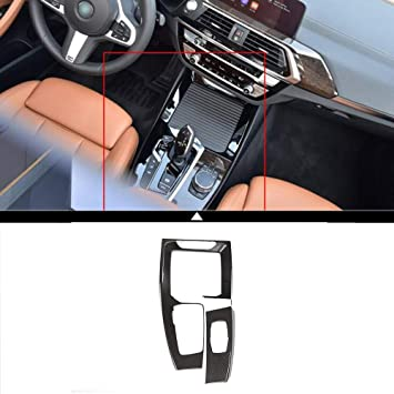 ABS Chrome Center Central Navigation Panel Frame Cover Trim Sticker For X1 F48 2016 2017 Car Accessories Carbon fiber