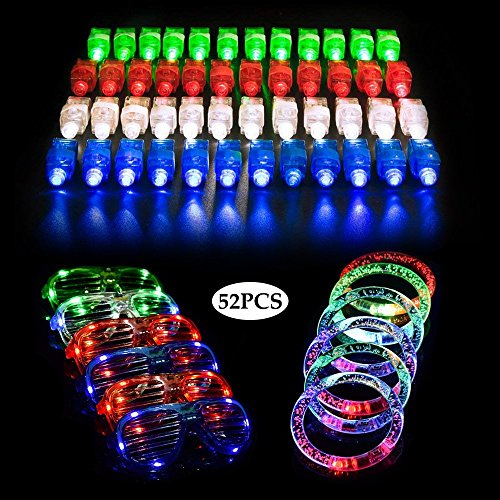 LifBetter 52 Pack Light up Toys , LED Party Favors with 40 PCS LED Finger Lights, 6 PCS LED Glasses and 6 PCS LED Bracelets, Flashing Glow in The Dark Party Supplies by Seerootoys by LifBetter
