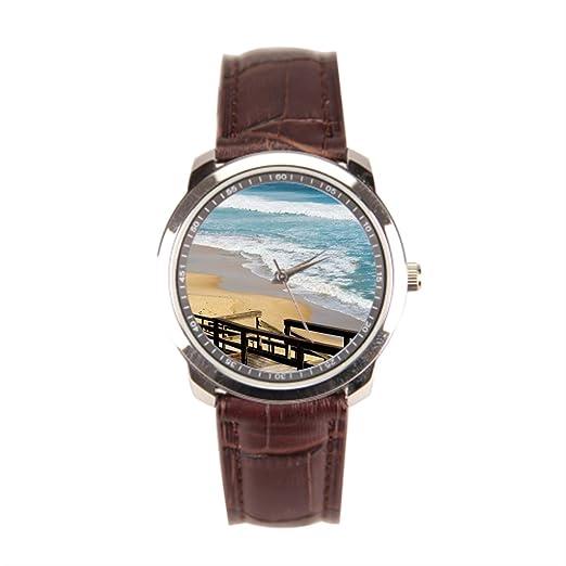 sjfy para hombre correa de piel relojes marea alta marea playa correa de piel reloj: Amazon.es: Relojes