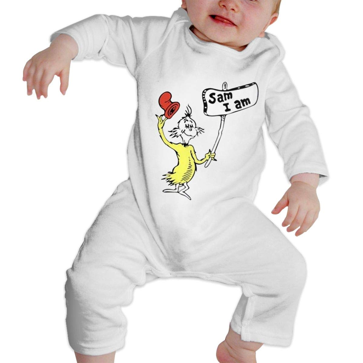 SININIDR Newborn Jumpsuit Infant Baby Girls Green Eggs and Ham Long-Sleeve Bodysuit Playsuit Outfits Clothes Black