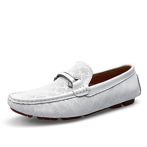 Jamron Hombres Piel Genuina Delicado Grabado de Tela Escocesa Hebilla Mocasines Planos Elegante Formal Mocasines de Negocios: Amazon.es: Zapatos y ...