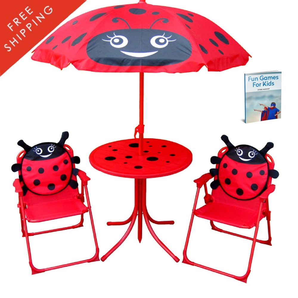Kid Folding Table And Chairs Set With Umbrella Seat Canopy Outdoor For Patio Garden Picnic Camping Childrens Study And Activity Kids Craft Childrens Play Desk Chairs For 2 And eBook By NAKSHOP