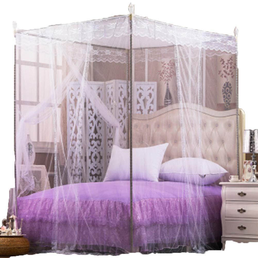 CONGMING ベッドカーテン3ドアカーテンレースカーテン大胆な金属製ブラケットベッド5サイズに適しています蚊に刺されて厚い暗号化ベッドカーテン (Size : White-1.8x2.2M bed, Size : 16mm support) B07SRL9XZ5