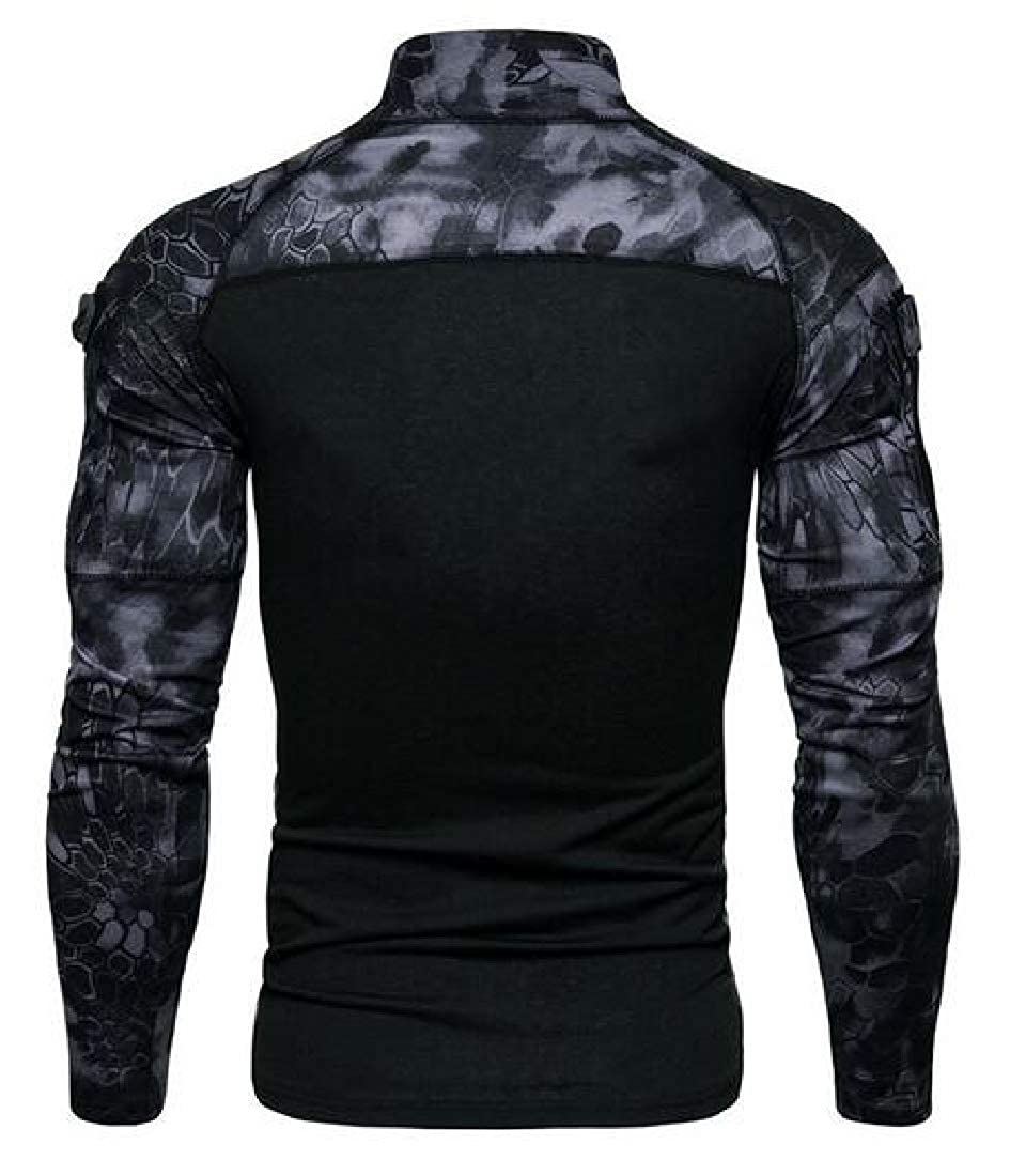 FSSE Mens Turtle Neck Camo Stretchy Gym Workout Long Sleeve Outdoor Jersey T-Shirt Tee Top