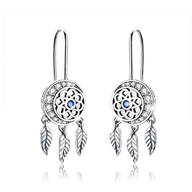 87c11d655 Amazon.com: Forever Queen Dream Catcher Earrings 925 Sterling Silver Long  Tassel Feather Drop Pendant Earring with CZ Jewelry BJ09122: Jewelry