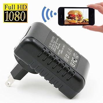FiveSky 1080P HD Inalámbrica WiFi Cámara Espía Adaptador de Corriente para Interiores Movimiento Activado Grabadora de Vídeo apoyar iPhone Android APP Vista ...