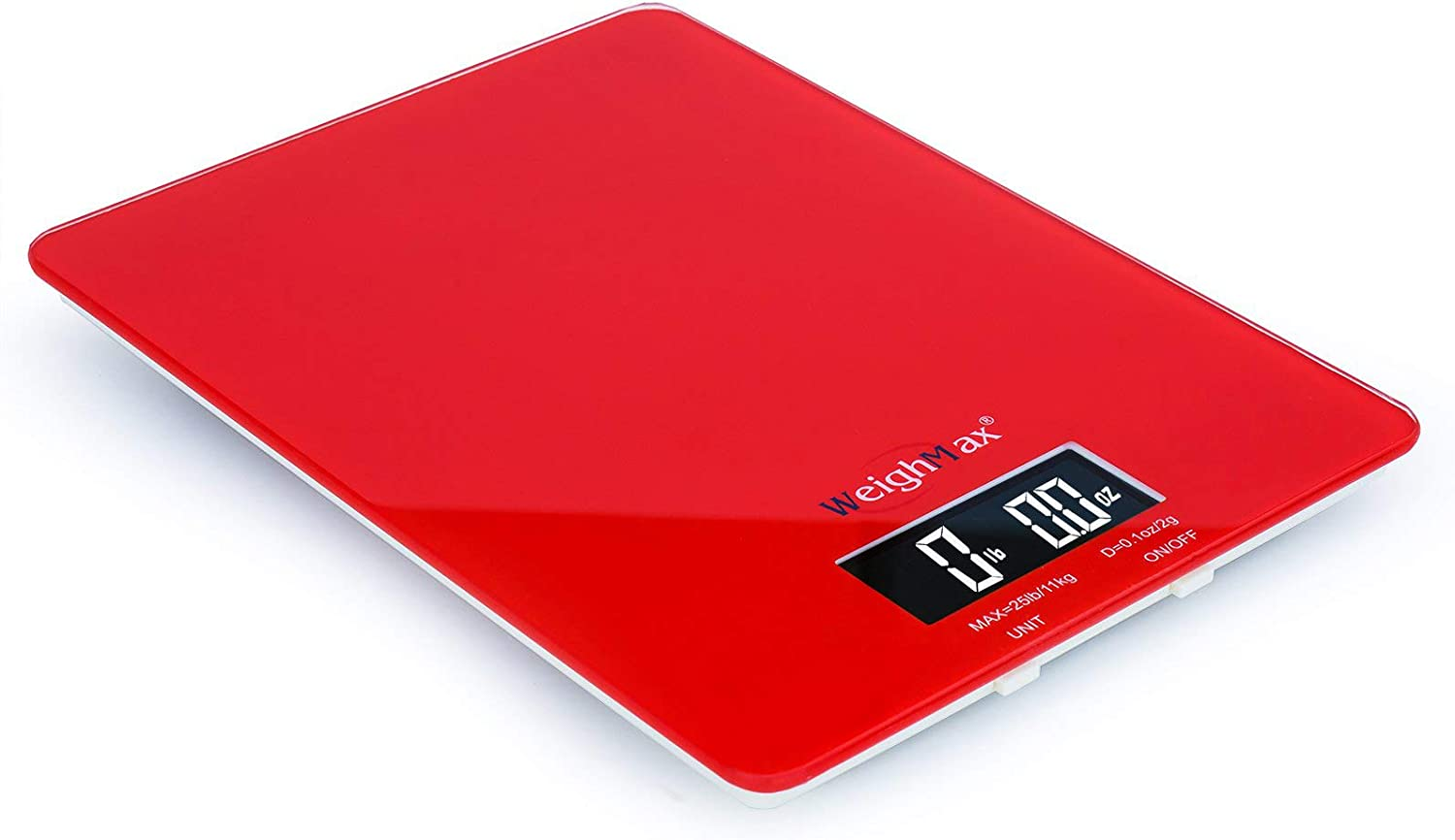 Weighmax Tempered Glass Digital Mailing and Food Kitchen Scale, 25lbs/11kg, Red