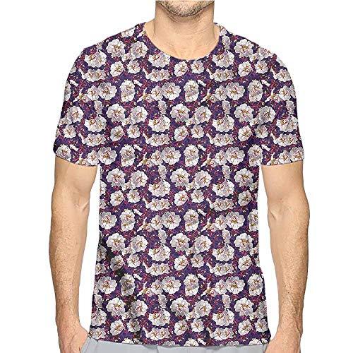 Jinguizi Mens t Shirt Flower,Romantic Spring Garden HD Print t Shirt -