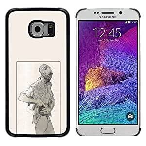 Cubierta protectora del caso de Shell Plástico || Samsung Galaxy S6 EDGE SM-G925 || Man Criminal Gun Art Pencil Drawing Painting @XPTECH