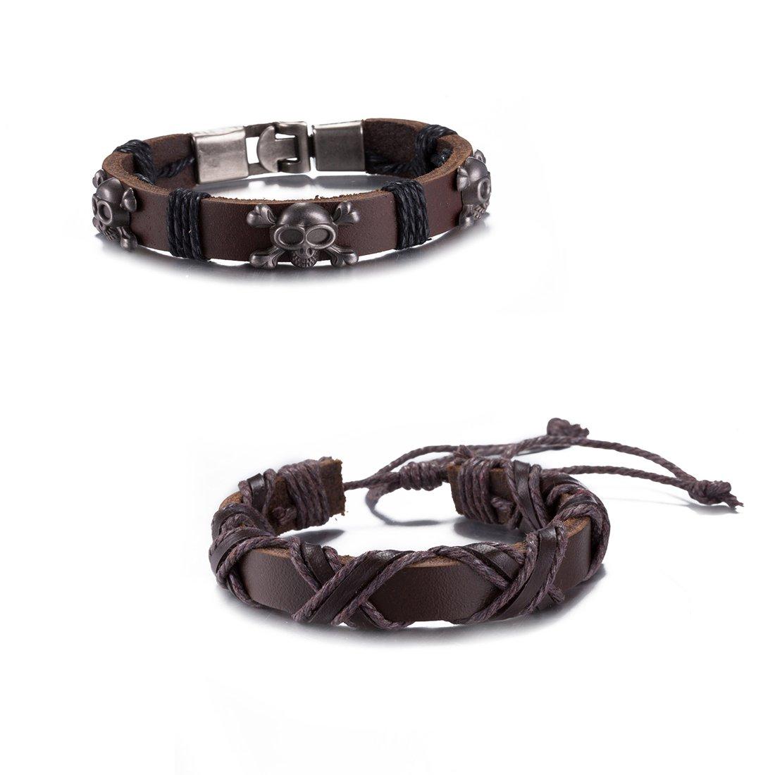 Yellow Chimes Combo 2 Pcs Casual Collection Charm Bracelet for Men (Brown)(MXFJBR-131138BA-BR)