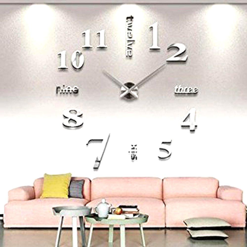 Lenhart Modern DIY Large Wall Clock 3D Mirror Surface Sticker Home ...