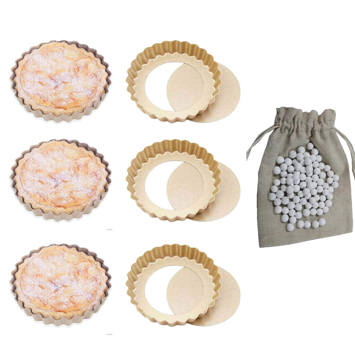 CANDeal 6 Packs Non stick 4 Inch Round Quiche Pans Removable Bottom Mini Tart Pans Set Bonus 1LB Pie Weights by CANDeal