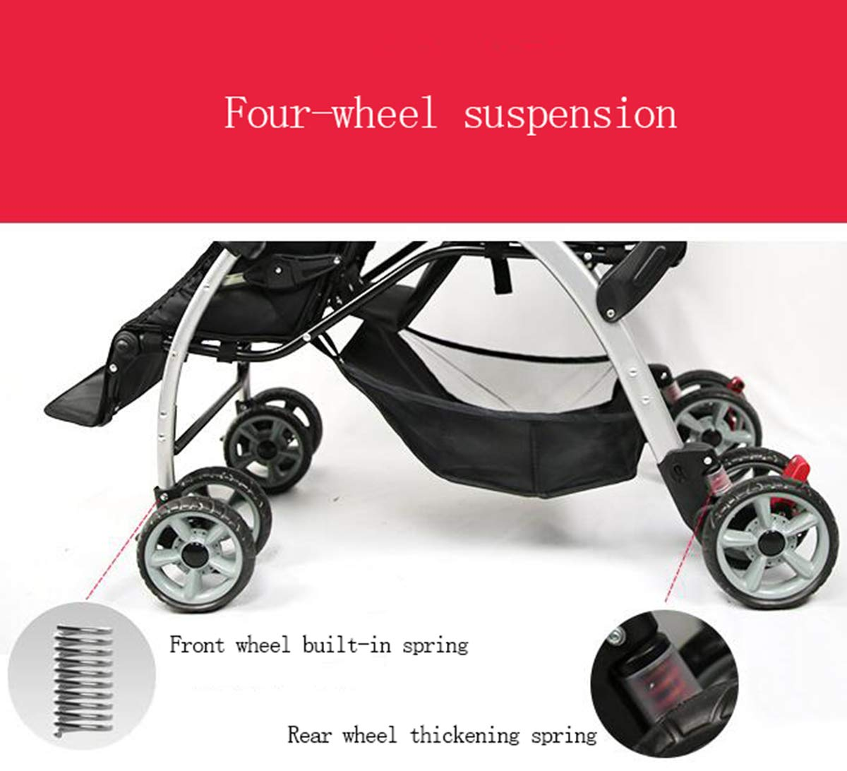 Amazon.com : Twin Baby Stroller, Double Childrens Trolley, can sit and fold Four-Wheel Shock Newborn Baby Stroller 49×95×105cm : Baby
