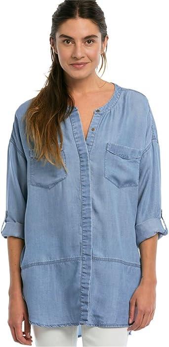 bc8343c701f Ellos Women s Plus Size Patch Pocket Tencel Tunic - Bleach