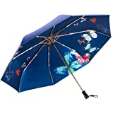 Women Umbrella, Travel Folding Umbrella for Women Loplay Compact UV Sun&Rain Double Layer Umbrella With Butterfly Pattern for Girls (Blue)