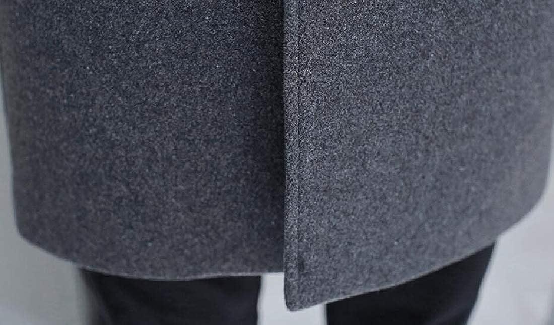 M/&S/&W Mens Premium Overcoat Single-Breasted Woolen Pea Coat Notched Collar Overcoat