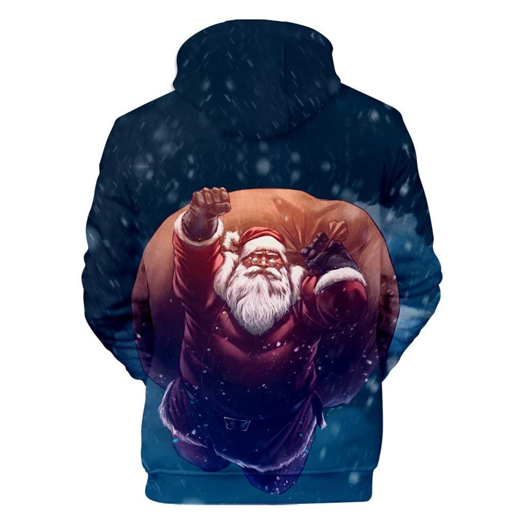 DOLDOA herren weihnachtspullover,M/änner Casual Weihnachten 3D Print Langarm Kapuzenpullover Jacke Mantel