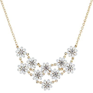 Amazon lux accessories goldtone white opal crystal rhinestone lux accessories goldtone white opal crystal rhinestone flower statement necklace mightylinksfo